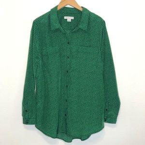 Liz Claiborne   Green with Black Polka Dots Shirt